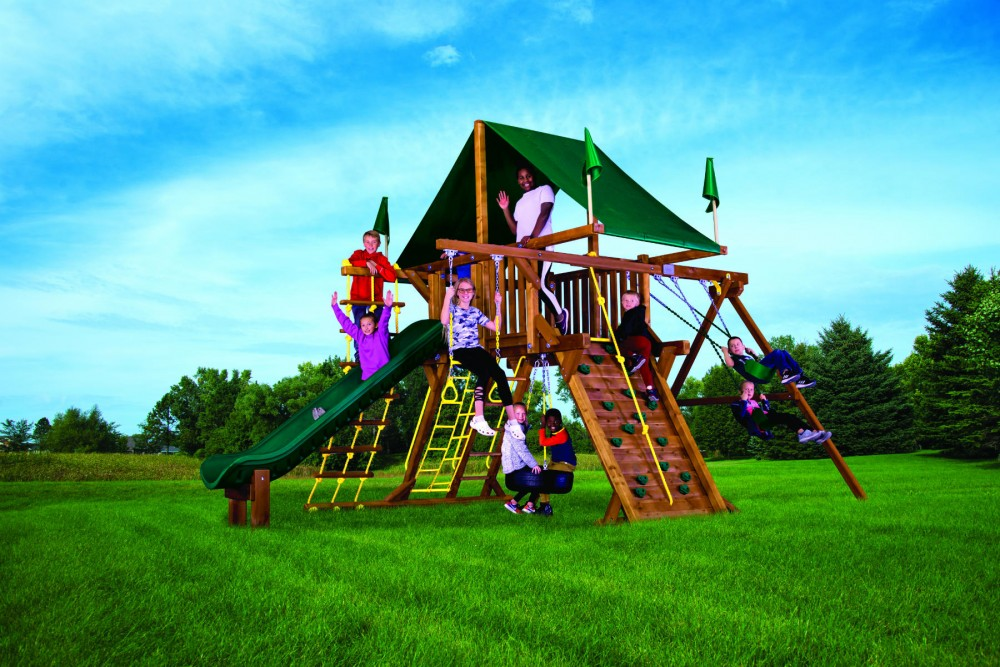 Rainbow Castle Pkg II Popular with Wood Roof