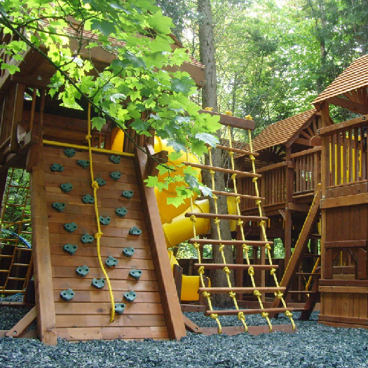 3 busy children looking for lots to do on a climbing frame and imaginative play