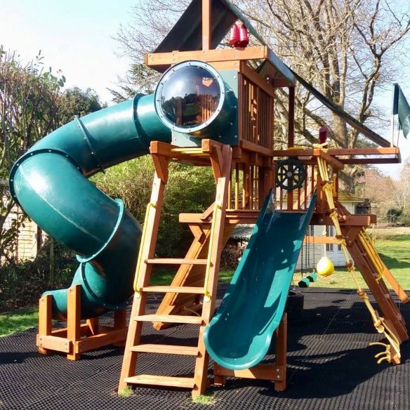 2 energetic little girls with a love for slides and imaginative play