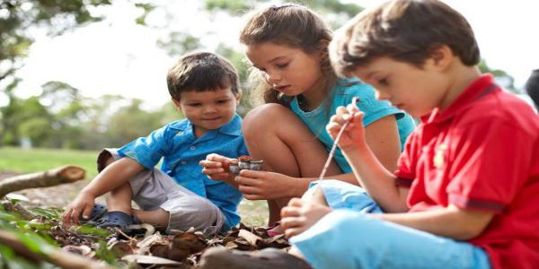 Autism 3 Children Playing Outdoors